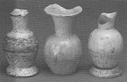 Moulded white jarlets from Qudougong, height 9cm. Sultan Abu Bakar museum, Pekan. SEACS  1985  no 361-3.